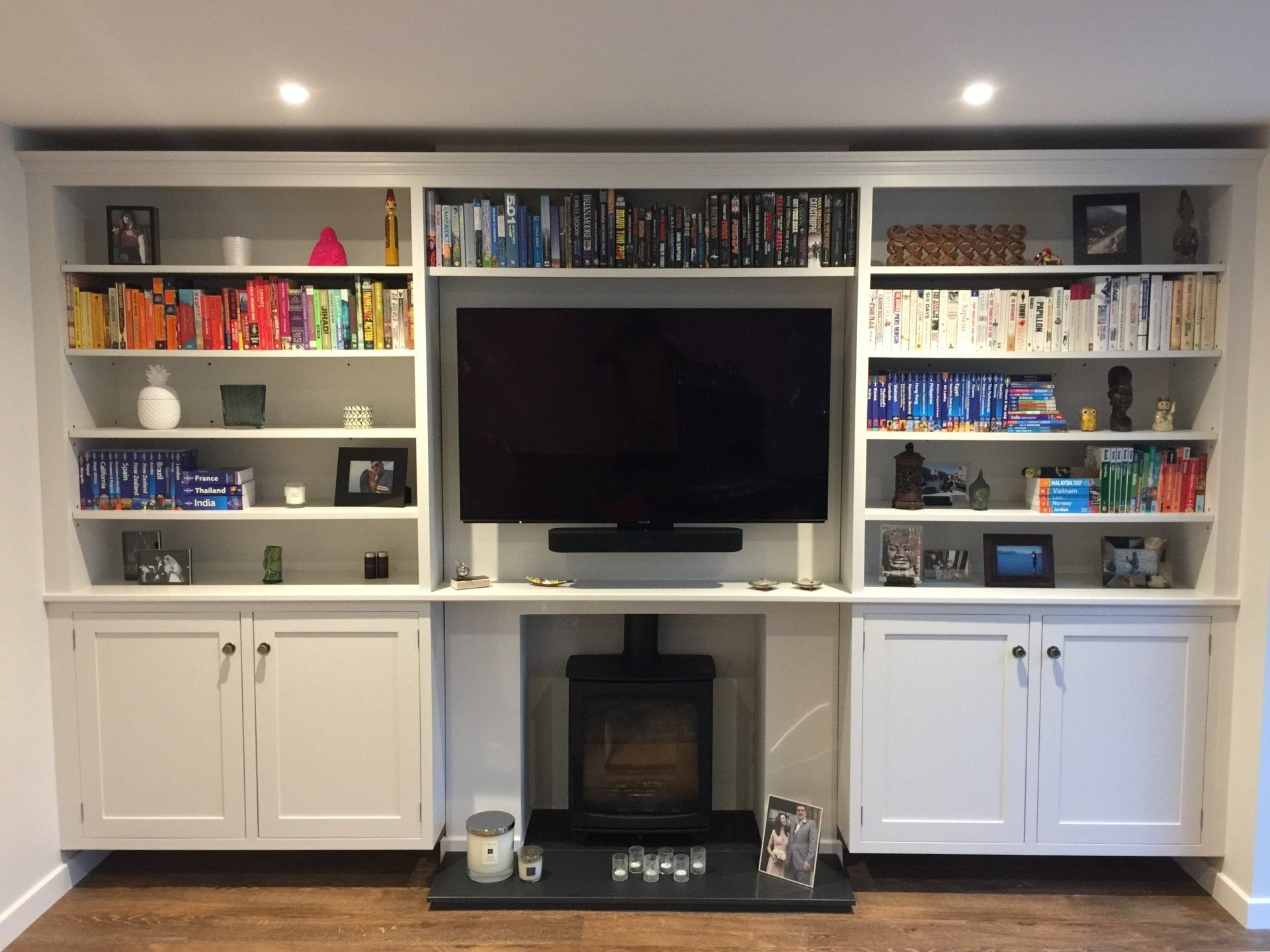 bespoke white cabinet with shelves